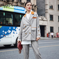 Women High Sets Street 2019 Autumn High Quality Women Two Pieces Suit Women's Sets Twin Set Vintage Irregular Outwear