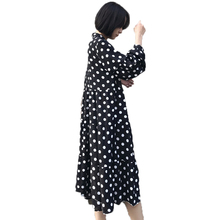 2019 Spring Woman Casual Shirtdress Black White Polka Dot Shirt Dresses Women Bowknot Crepe Robe Femme Loose Fitting Dress Plus
