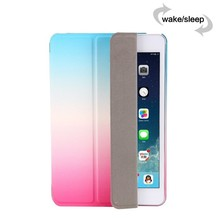 2016 New One Piece Design Colorful Rainbow Grandual PU Leather Flip Case for iPad Air 2