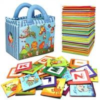 Новые ресурсом детские игрушки Зоопарк серии 26 шт. мягкий алфавит карты с тканью сумка для 0-3 лет младенцев английский чтения книги