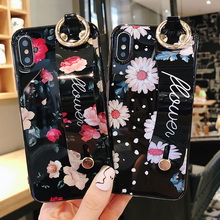 rose daisy flower silicon case for iphone 7 8 6 6s plus XS MAX XR X cover wristband holder Anti-knock soft phone bag