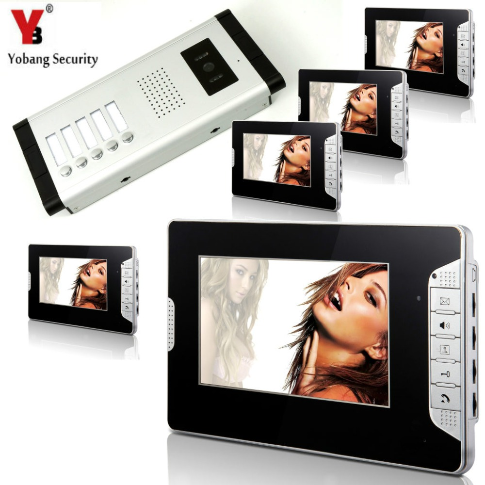 YobangSecurity 5 Units Apartment Intercom Wired 7 Video Door Phone Video Door Entry System Intercom Doorbell Home Security Kit yobangsecurity 6 units apartment intercom wired 7 video door phone video door entry system intercom doorbell home security kit