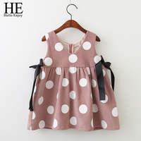 Baby Girls Dresses 2017 Fashion Baby Costume Kids Sleeveless Print Dot Bow Vest Princess Dress Toddler Girl Clothes Vestidos