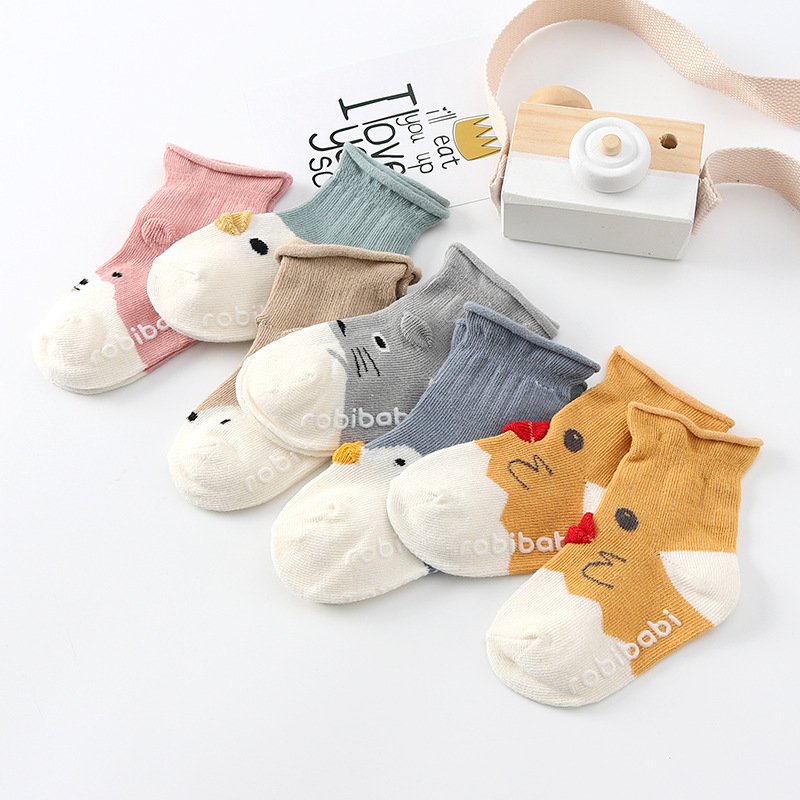 YOOAP 5 pairs / lot 2019 Striped cotton cartoon  children socks 0-3 year kids baby boys girls Cartoon ducklings