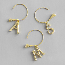INALIS New Statement Unique English alphabet Dangle Drop Earrings A M S with Hoop Brincos for Women Wedding Jewelry Gold Plated