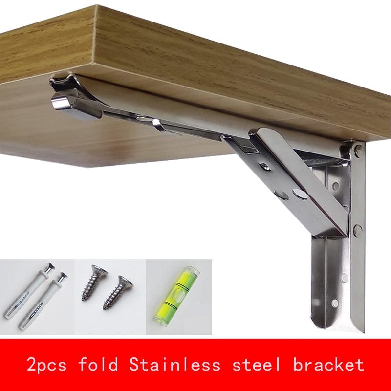 Купить с кэшбэком 2Pcs Max Negative Heavy 65kg 8-14 inch Folding Stainless steel Bracket Triangular Release Support with install parts