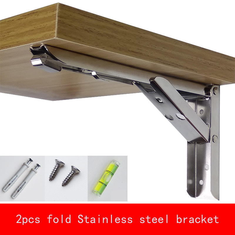 2Pcs Max Negative Heavy 65kg 8-14 inch Folding Stainless steel Bracket Triangular Release Support with install parts