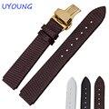 Alta calidad correa de piel genuina 18mm correa negro lagarto grano para huawei b2 smart watch