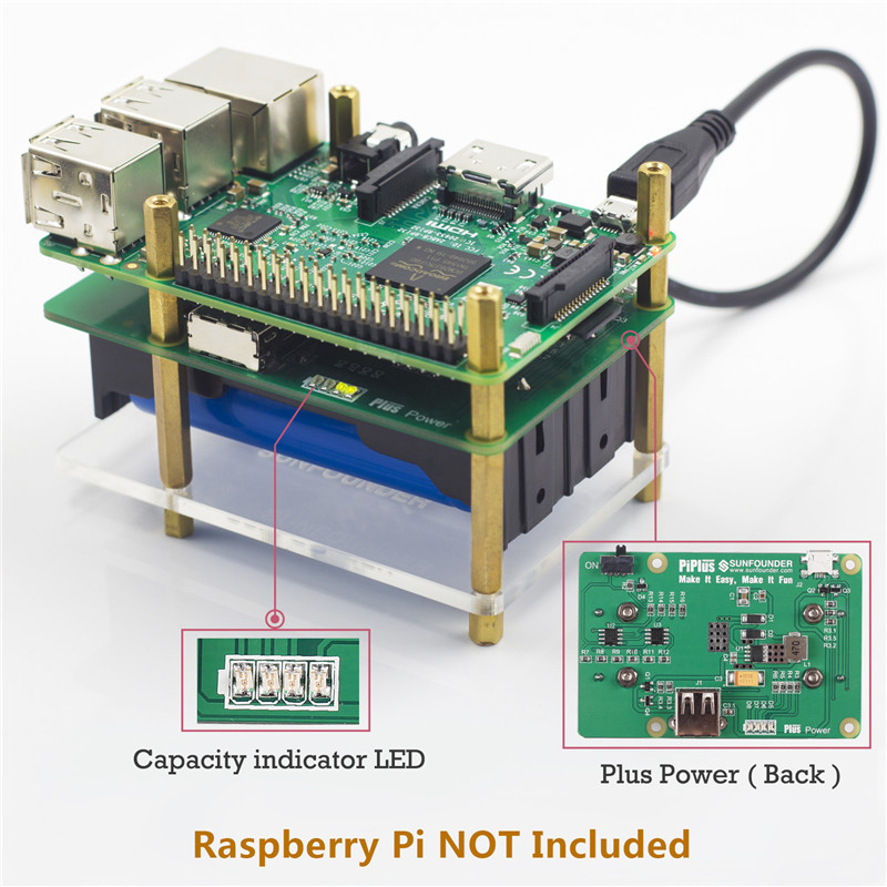 SunFounder <font><b>Raspberry</b></font> <font><b>Pi</b></font> 4000mAh 5V 2A Lithium <font><b>Battery</b></font> Power Pack Expansion Board-Plus Power Module For <font><b>Raspberry</b></font> <font><b>Pi</b></font> <font><b>3</b></font> 2 Module B