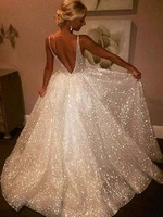 Charming Sparkly A Line V Neck Backless Sequins White Long Wedding Dresses Wedding Gowns
