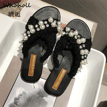 цены Whoholl Brand Women Home Slippers Winter Warm Shoes Woman String Bead Slip on Flats Slides Female Faux Fur Slippers 40 Wholesale