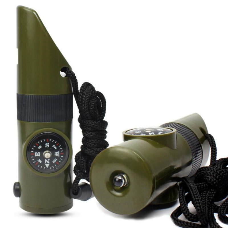 7 In 1 Mini SOS Survival Whistle Camping Survival Kit With Compass Thermometer Flashlight Magnifier Tools Outdoor Hiking