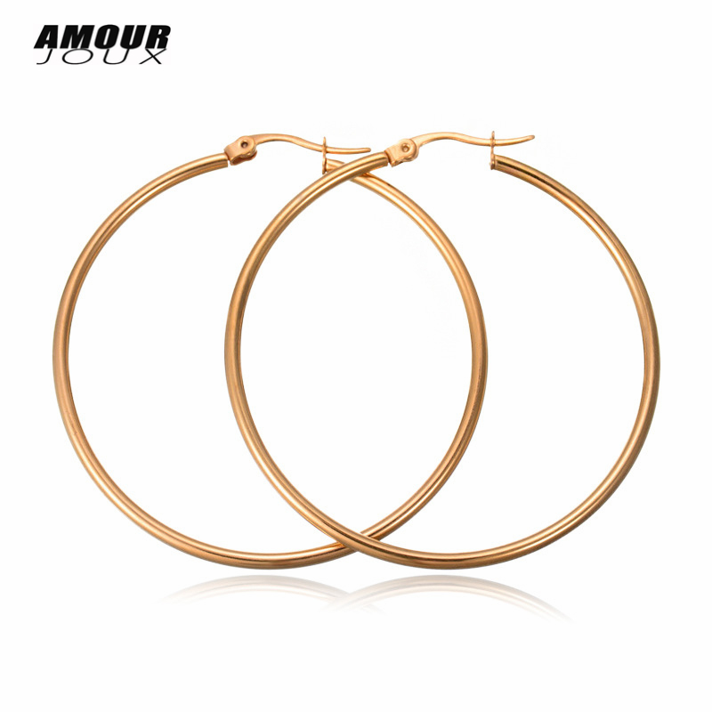 Stainless Steel Hoop Earrings for Women 4/5/6/7cm Large Gold/White/Black color Round Big Hoops Earring