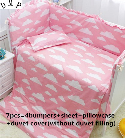 Promotion! 6/7PCS Cartoon baby Bedding sets Comforter Cover Bumpers Fitted sheet Baby Set , 120*60/120*70cm