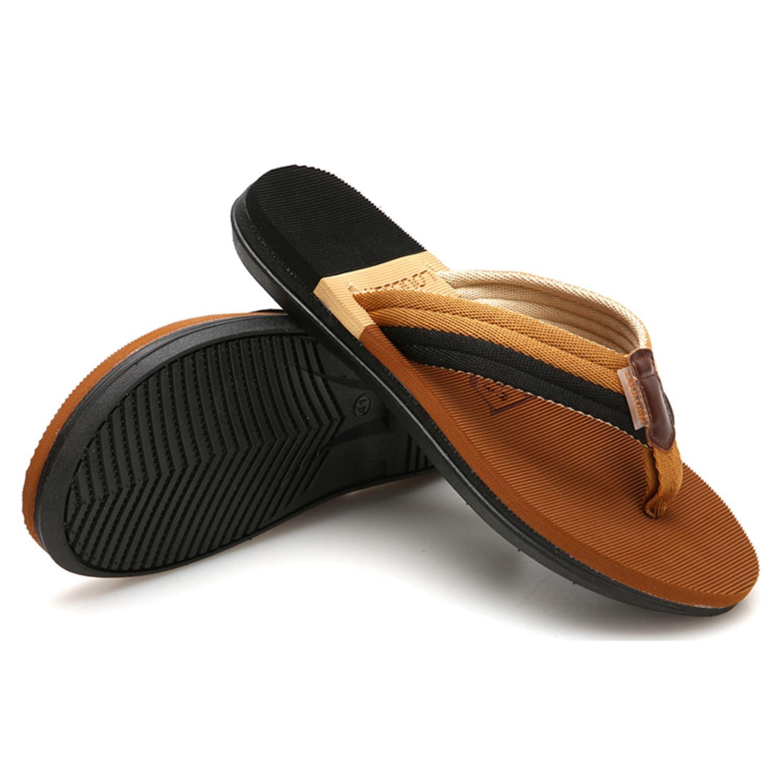 DCOS Beach Sandals Sandalias Men Shoes Summer Slippers Flip Flops Men Sandals Hombre Chausson Homme Casual Walking Shoes Brown