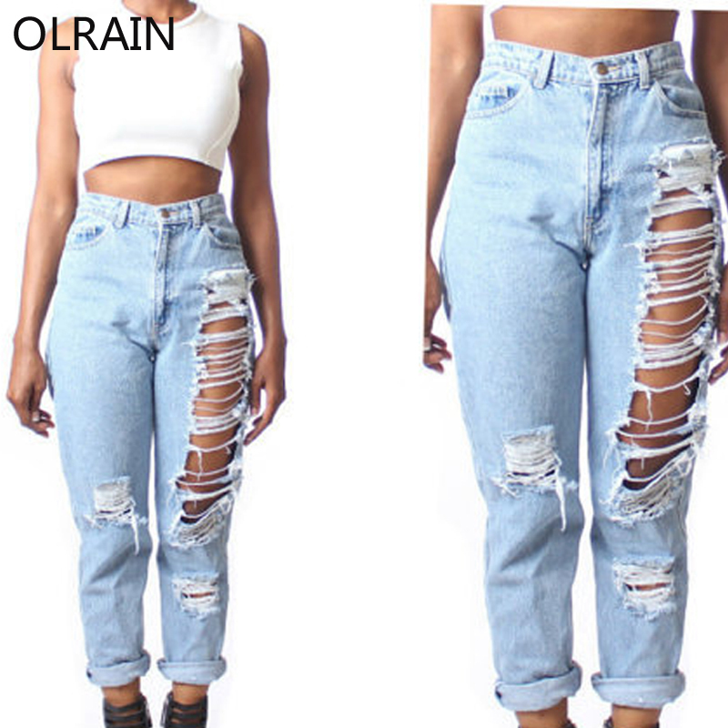 Olrain Mujeres Moda De Cintura Alta Agujero Rasgado Vaqueros Rectos Flojos Ocasionales Pantalones Capris Hole Ripped Jeans Ripped Jeansripped Jeans Fashion Aliexpress