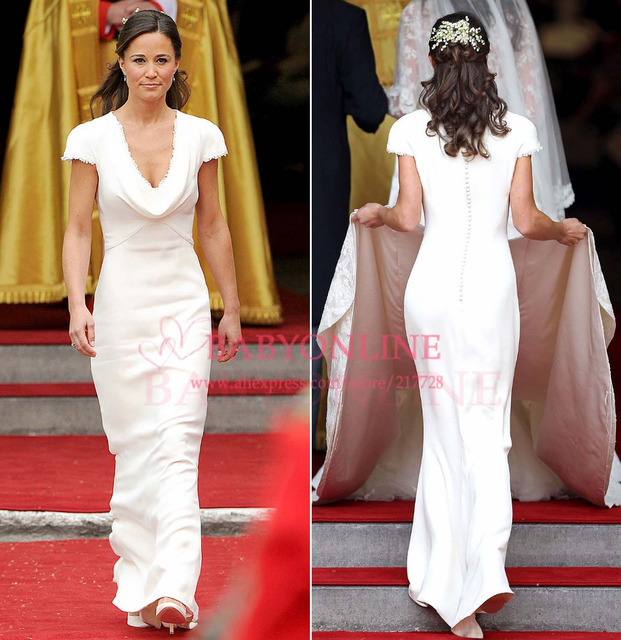 Maid Of Honor Pippa Middleton Royal Bridesmaid Dresses Cap Sleeves White V Neck Mermaid Wedding Party