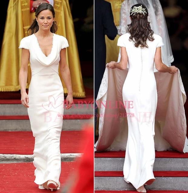 Maid Of Honor Pippa Middleton Royal Bridesmaid Dresses Cap Sleeves White V Neck Mermaid Wedding Party