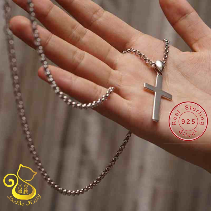 2015 Hot New Cross Jewelry 100% 925 Sterling Silver Pendant & Necklace Women & Men Jewelry Collar Necklace 16 inch 4 sizes pick цены онлайн