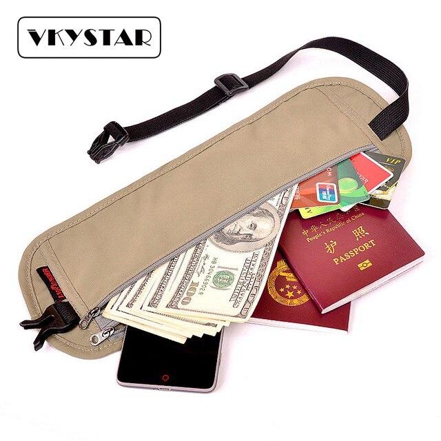 Men and Women Lightweight Waist Bag Pack Adjustable Cotton Tape Waist Packs Grey Belt Pouch Mesh Travel Money Belt Vkystar113