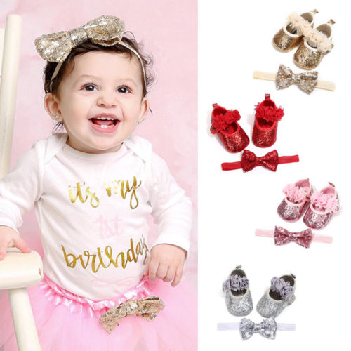 Infant Baby Girl Princess Shoes Sequin Lace Floral Hook First Walkers Party Wedding Flat Soft Shoes+Bow Headband cat ear sequin headband