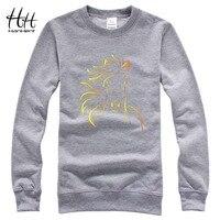 HanHent Hourse Print Brand Design Sweatshirts Men Creative Cotton Hoodies 2017 New Fashion O Neck Casual