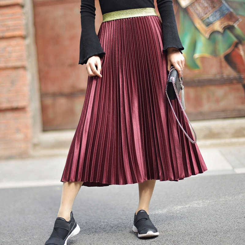 6d4e6cf24 ... Spring Fashion Pleated Skirts Womens 2019 Elastic High Waist Skirt  Black White Long Skirt Ladies Vintage ...