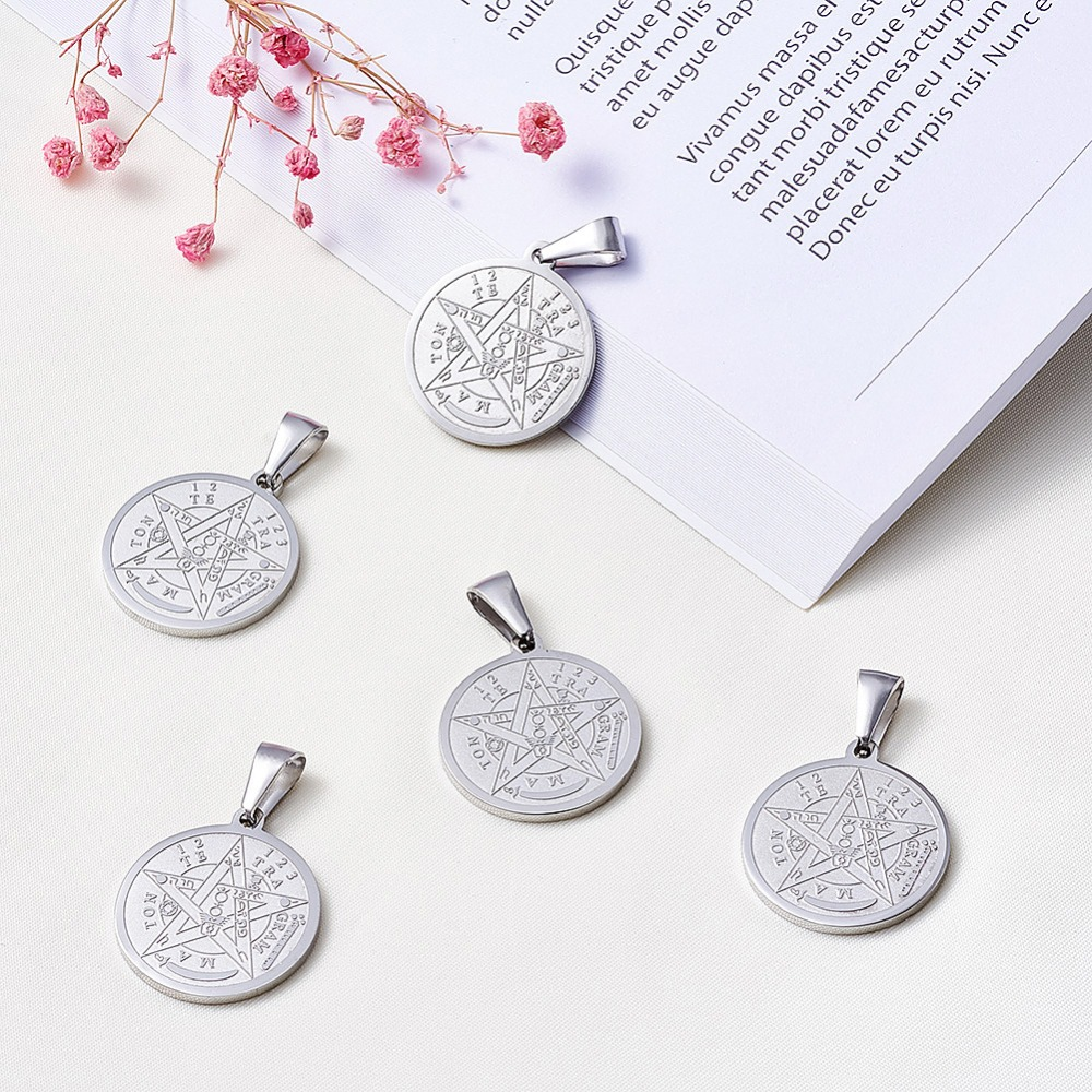 Image 4 - 10pc Religion Vintage 304 Stainless Steel Flat Round Carved Tetragrammaton Necklace Jewelry Findings Pentagram Pendant 27x24x2mm-in Pendants from Jewelry & Accessories