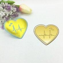 цена Julyarts Gold Heart ECG Hot Foil Plate Metal Cutting Die For Scrapbooking Stencils Stamping Photo Album Card Die Cut Craft Dies