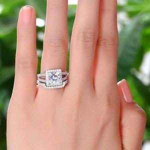 Image 3 - الطاووس ستار 1.5 قيراط الأميرة الصلبة 925 فضة الزفاف وعد خاتم الخطوبة مجموعة CFR8141