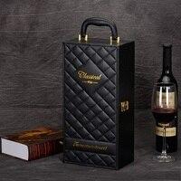 Venta caliente nueva moda de Cuero de LA PU caja de vino para 2 Botella Conjunto Abridor de botellas de Vino Caja de Regalo Con Accesorios