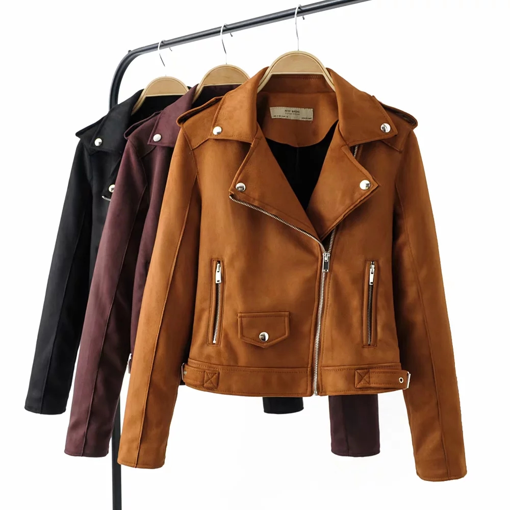 New fashion women   suede     leather   jackets for office ladies black chic bomb jacket cool girls khaki outwear female coats feminine