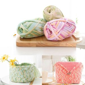 Crochet Yarn Colorful Cloth Line Carpet Knitting Yarn 100G/pcs Soft Woven Mat Strip Line Bags Home Yarn For Sewing Baby Pillows(China)