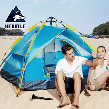 Hewolf Camping Tent 3-4 People Fully-automatic Tent Quick Open Family Tent Protable Waterproof Breathable Travel Camping Tent