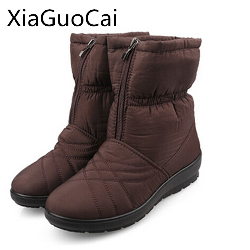 229cfd07de1 Fashion Brown Mother Boots for Winter Big Size Rubber Flexible Platform  Suede Women Mid-calf Boots High Top Wedegs Snow Boots 35