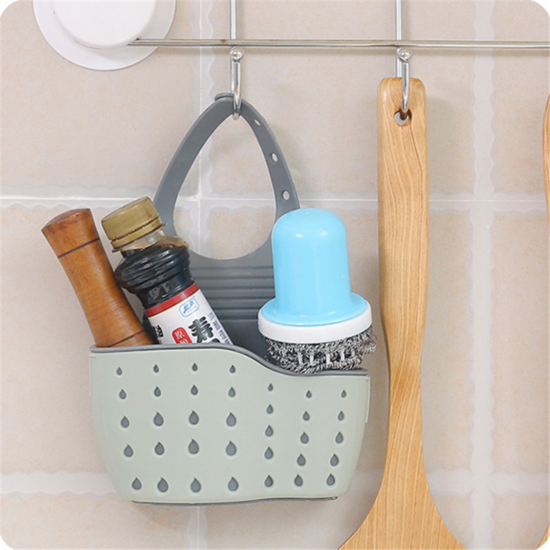 Useful Suction Cup Sink Shelf Soap Sponge Drain Rack Kitchen Sucker Storage Tool White Green Blue Storage Baskets