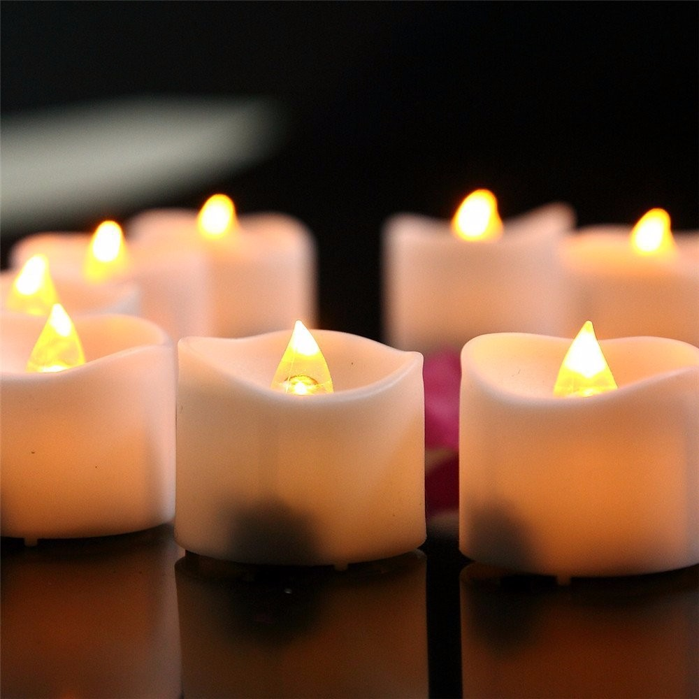 12pcs New Yellow Flicker Light Flameless LED Night light Candle Home Wedding Party Christmas Halloween Home Decoration WNL006