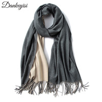 DANKEYISI 2017 Luxury Shawls And Scarves Women Winter Double-sided Solid Color Cashmere Scarf Warm Wraps Female Tassels Hijab