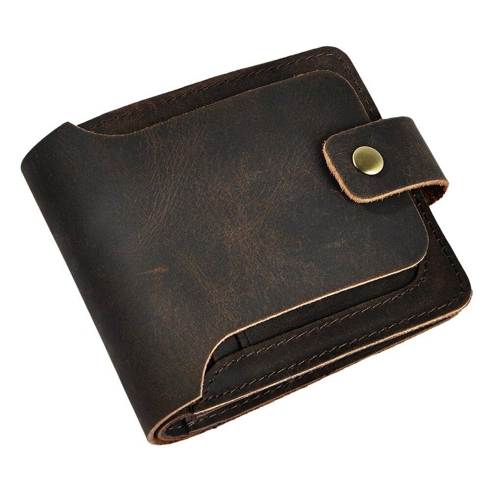 Hot Sale Cattle Male Crazy Horse Real leather Vintage Design Standard Wallet Snap Purse For Men 406