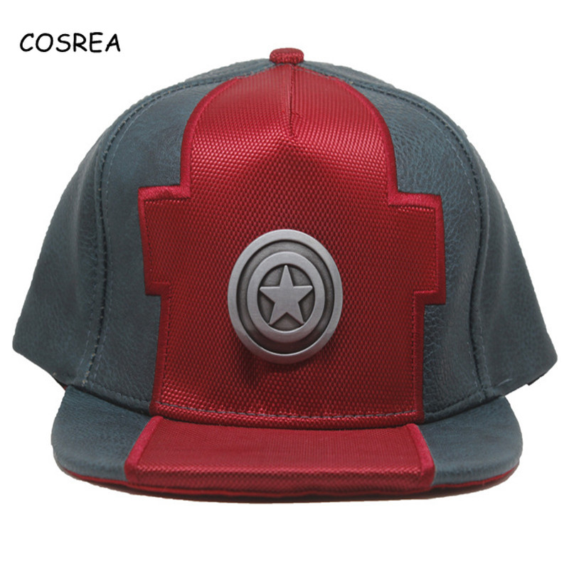 Captain America Costume Leather Baseball Caps Hat Women Summer Hat for Girls Cartoon Captain America Snapback Adjustable