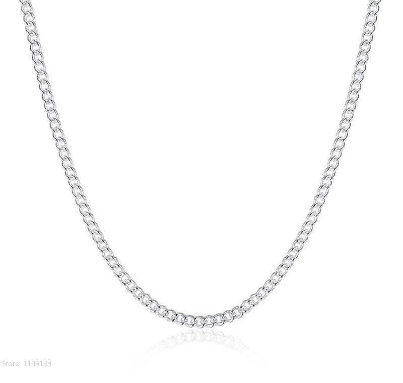 "Hot Sale 1PC Pure 925 Sterling Silver 2mm Chain Necklace With Big Discount 16""-30"" Popular Flat Curb Design Jewelry Top Quality"