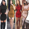 High Quality Suede Mini Dress Short Sleeved High Necked Dress Bodycon Women 2017 Sexy New Sexy
