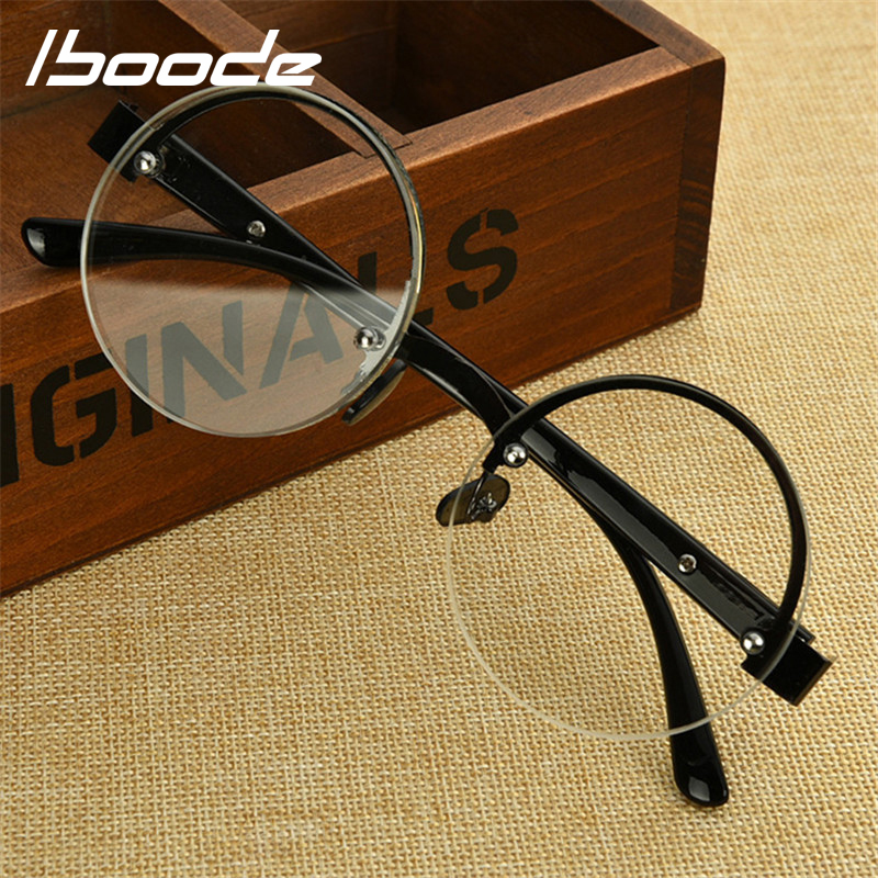IBOODE Round Metal Half Frame Reading Glasses Women Men Semi Rimless Presbyopic Eyeglasses Female Male Hyperopia Eyewear