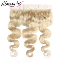 цена на Bigsophy Mongolian Body Wave Closure 13*4 Blonde 613 Color Human Hair Ear To Ear Lace Frontal Closure Remy Hair Human 8-20 Incn