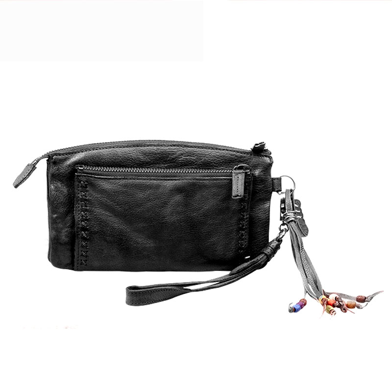 Nature Cow Skin Tassels Ancient Ways Fold Beadings Purse Genuine Leather Woman Neutral Long Zipper Manual Vintage Clutch WalletsNature Cow Skin Tassels Ancient Ways Fold Beadings Purse Genuine Leather Woman Neutral Long Zipper Manual Vintage Clutch Wallets