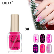 LULAA 6ML Nail Polish for Stamping Art Paint Gel 12 Colors Pure Color Lacquer Painting Varnish Drawing DIY