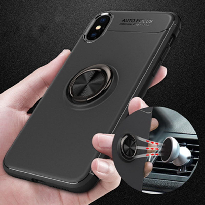 10pcs Hot Phone Case Cover With Magnetic Adsorption Finger Ring Stand 360 Rotation Ring Holder Phone Cover for iPhone in Fitted Cases from Cellphones Telecommunications