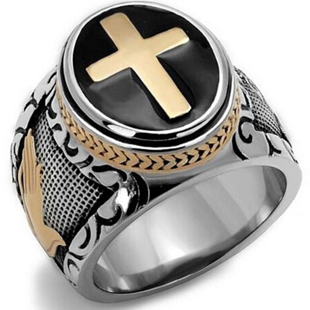 Größe 7-15 Vintage Silber Gold Schwarz Zweifarbige Holy Cross Siegelring Gebet Christian Jesus Religiös Cocktail Valentine