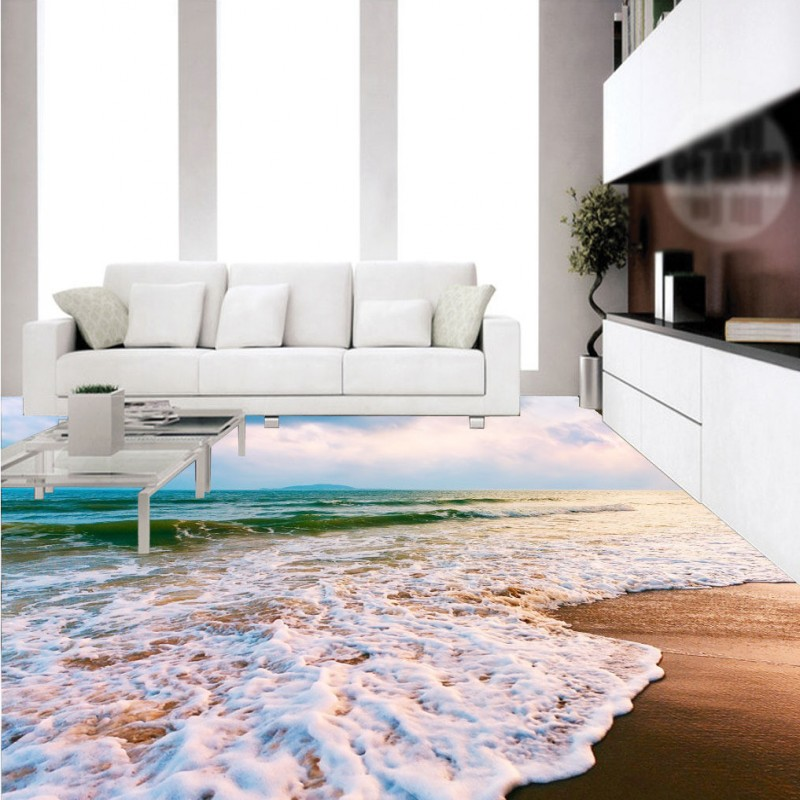 Free Shipping Bathroom Kitchen Living Room Ocean Beach 3D Floor bedroom non-slip waterproof square study lobby flooring mural цена 2016