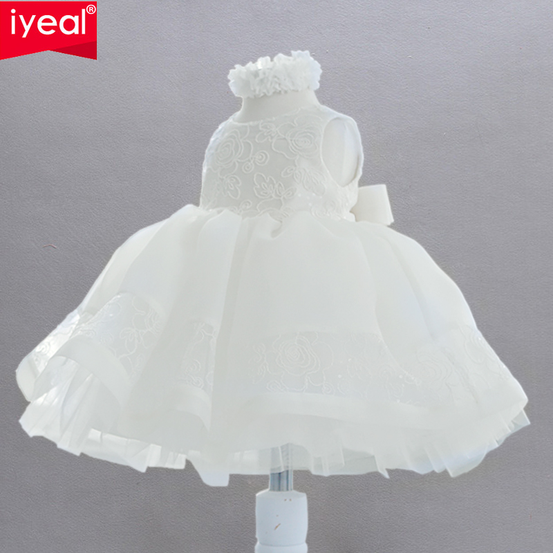 IYEAL Girls Party Dresses Children Clothes Brand Flower Girl Elegant Lace Wedding Birthday Dress Princess Baby Vestidos Infantil bow baby girls long wedding dress birthday party dresses for children flower girl lace princess costume vestidos kids clothes